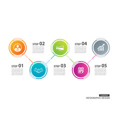 5 circle timeline infographic template business vector image