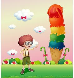 A young gentleman standing near the giant icecream vector