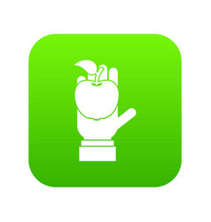 apple in hand icon digital green vector image