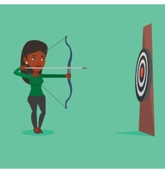 Archer aiming with bow and arrow at target vector