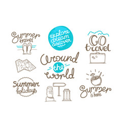 around world doodle style isolated on white vector image