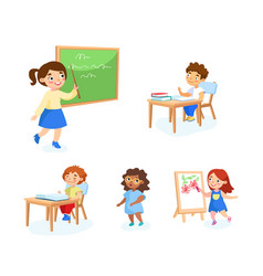 back to school set children with studying tools vector image