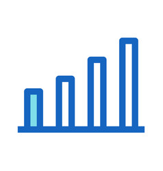 bar chart filled line icon blue color vector image