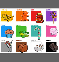 Basic colors set with cartoon sweet food objects vector