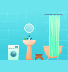 Bathroom interior with tub and curtain washing vector