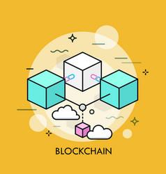 blockchain thin line concept vector image