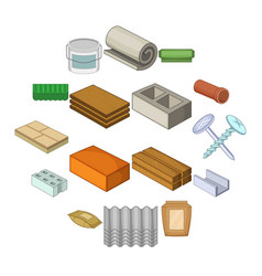 Building material icons set cartoon style vector