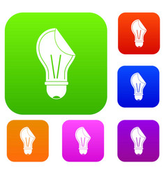 bulb sticker set color collection vector image