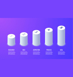 Business infographics bar chart graph with 5 vector