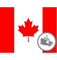 Canadian flag and map vector