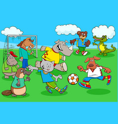Cartoon animal soccer players on football field vector