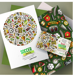cartoon doodles football corporate identity vector image