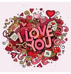 Cartoon hand drawn Doodle Love vector image
