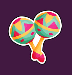 cartoon mexican maracas vector image