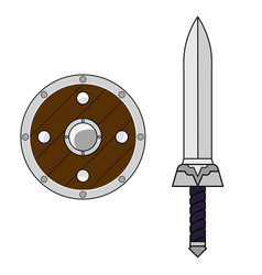 Cartoon sword and shield isolated on white vector