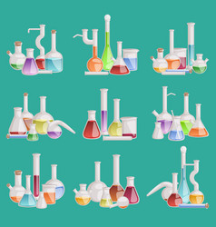 chemical laboratory lab flask glassware vector image