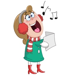 Christmas carols woman vector