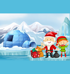 christmas scene with santa and elf vector image