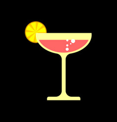 cocktail with lemon isolated glass of champagne vector image