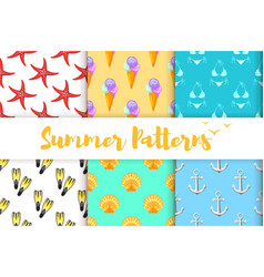 collection of summer colorful patterns vector image