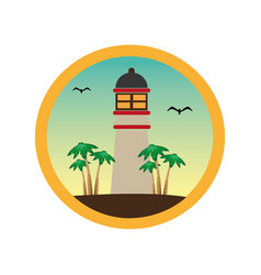 Colorful circular frame with lighthouse and palm vector