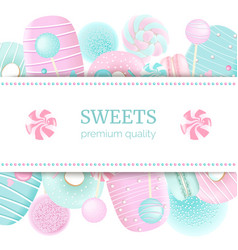 Confectionery label set with text on stripe blue vector