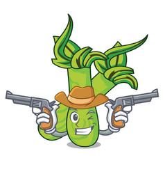 Cowboy wasabi character cartoon style vector