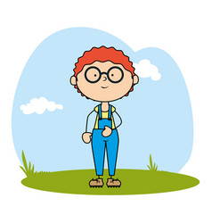 Cute boy avatar character on field vector