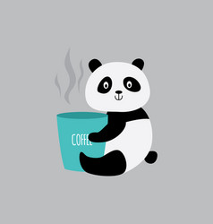 cute cartoon panda hugging cup coffee - little vector image