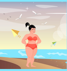 cute full-figured woman on the beach vector image