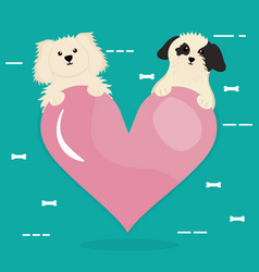 Cute little dogs mascots with heart vector