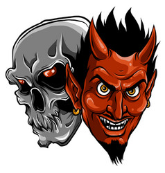 demon devil and skull head vector image