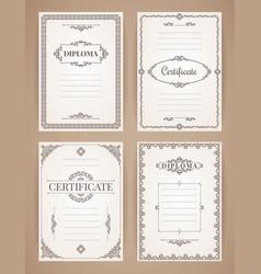 Design templates collection for diploma vector