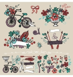 Doodle floral grouphand sketch element set vector image
