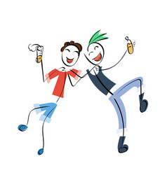 doodle stickman concept friends with vector image
