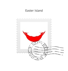 Easter Island Flag Postage Stamp vector