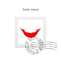 Easter island flag postage stamp vector