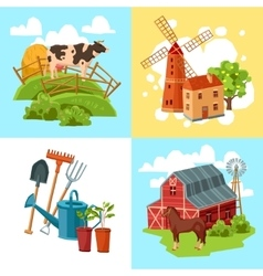 Farm design flat concept set vector