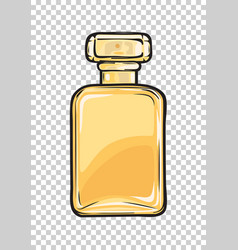 fashionable perfume in glass yellow flask close-up vector image