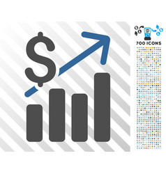 financial chart flat icon with bonus vector image