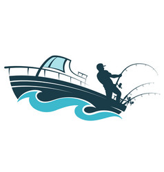 Fisherman on a motor boat vector