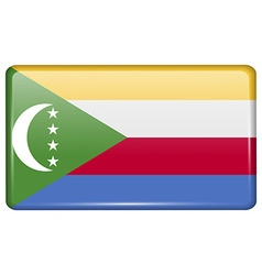 Flags Comoros in the form of a magnet on vector