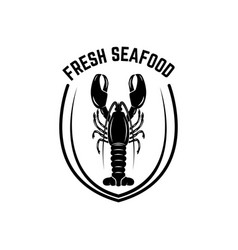 fresh seafood emblem template with lobster design vector image
