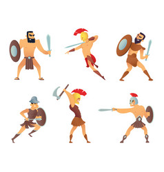 Gladiators holding swords fighting characters in vector