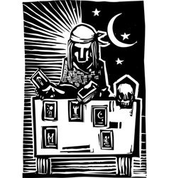 Gypsy tarot card reading a vector