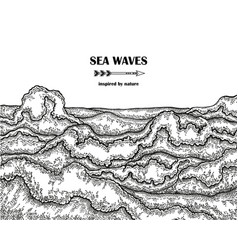 hand drawn sea waves marine background in line vector image