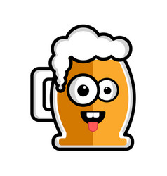 happy beer cartoon character vector image