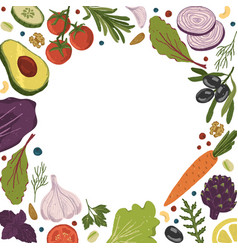 Healthy food background with copy space fruits vector