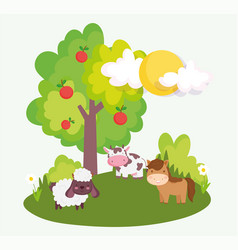 horse sheep cow tree apples field farm animals vector image