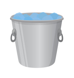Ice bucket for alcohol cartoon flat style vector